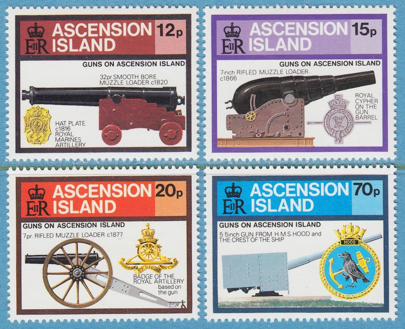 ASCENSION ISLAND 1985 M382-5** kanoner 4 kpl