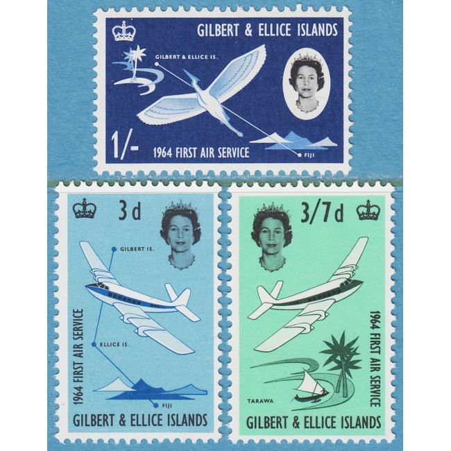 GILBERT & ELLICE ISLANDS 1964 M77-9** flyg 3 kpl