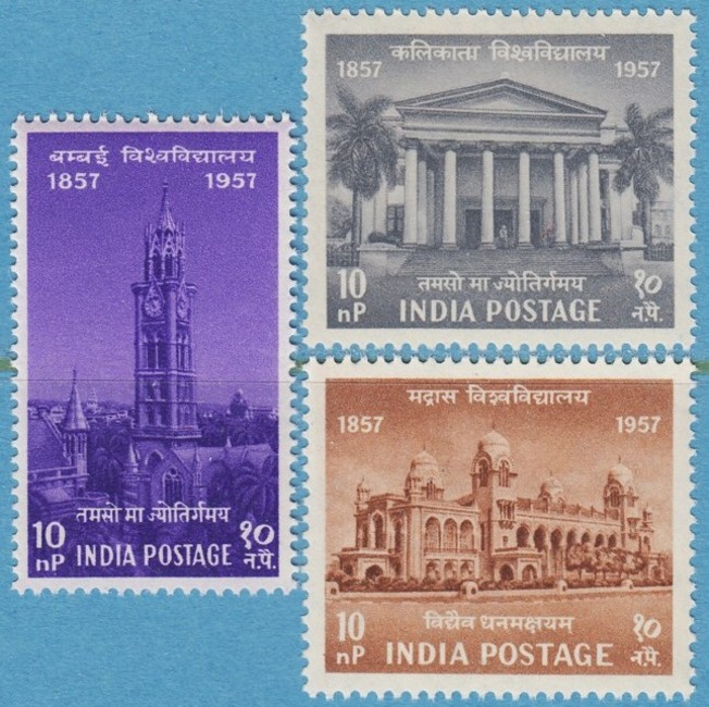 INDIEN 1957 M279-81** universitet i Bombay - Calcutta - Madras 3 kpl